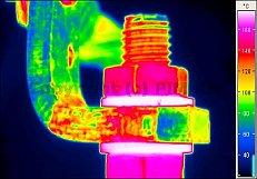 Villamos berendezések termográfiája - Kontaktushiba (forrás: PIM)