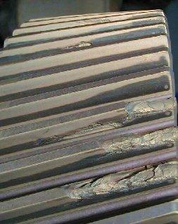 2009/06: Géphibák felismerése rezgésspektrumban - Sérült fogaskerék fényképe (forrás: DDC)