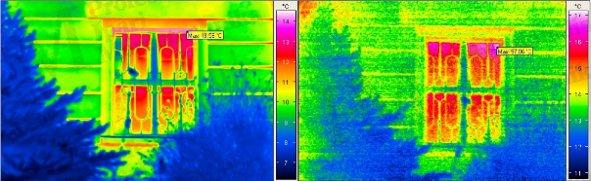 Épület-termográfia gyakorlati tanácsok a mérésekhez - Hosszú- ill. közép-hullámhosszú hőképfelvétel (forrás: PIM)
