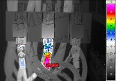 Villamos berendezések termográfiája - Hibás kábelsaru (forrás: PIM)