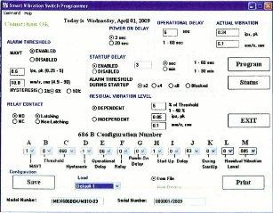 PCB 686B sorozatú rezgéskapcsoló konfigurációs programja (forrás: PIM)