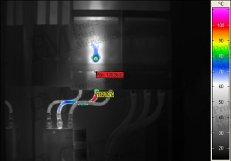 Villamos berendezések termográfiája - Burkolat alatti hiba (forrás: PIM)
