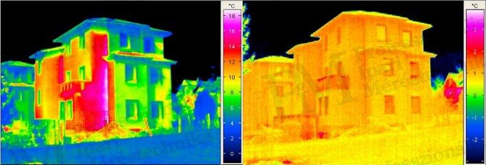 Épület-termográfia gyakorlati tanácsok a mérésekhez - Napsütés hatása (forrás: PIM)