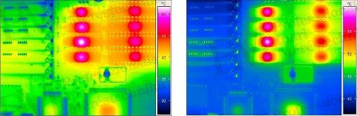 Termográfia - szakmai képzés nélkül - NYÁK korrigált / nem korrigált hőképe (forrás: Infratec)