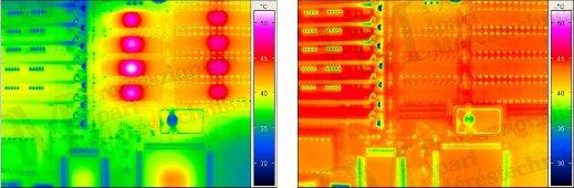 Nem korrigált NYÁK / felmelegített NYÁK (forrás: Infratec)
