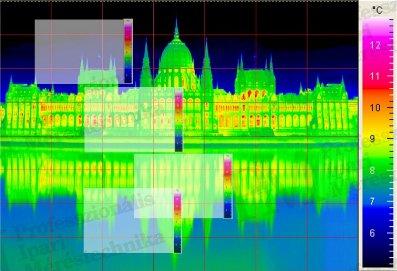 Parlament kétdimenziósan montírozott hőképe (forrás: PIM)