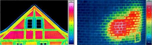 Épület-termográfia gyakorlati tanácsok a mérésekhez - Rejtett konstrukciós elemek (forrás: Infratec)
