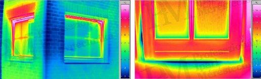 Épület-termográfia gyakorlati tanácsok a mérésekhez - Rosszul záró nyilászárók (forrás: Infratec)