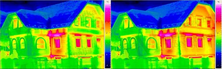 Épület-termográfia gyakorlati tanácsok a mérésekhez - Szél hatása (forrás: PIM)