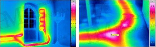 Épület-termográfia gyakorlati tanácsok a mérésekhez - Szivárgás-keresés (forrás: Infratec)
