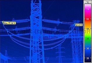 Villamos berendezések termográfiája - Távvezeték hibával (forrás: Infratec)