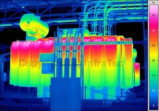 Transformator hőkamerás mérése (forrás: Infratec)