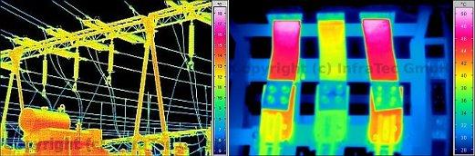 Alálómás ill. áramsínek termográfiai mérése (forrás: Infratec)
